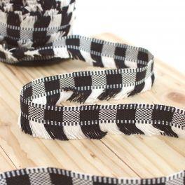 Galon à franges noir et blanc