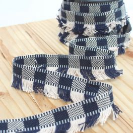 Braid trim with fringes - navy blue and white