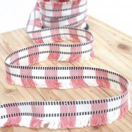 Galon à franges rose et blanc