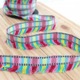 Braid trim with fringes - multicolored