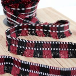 Braid trim with fringes - red and black