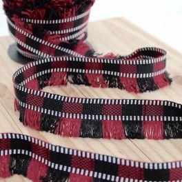 Galon à franges rouge et noir