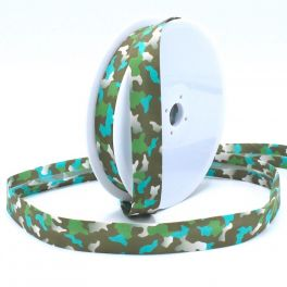 Bias binding with army print - khaki