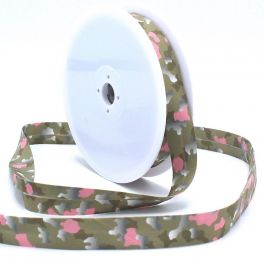 Biaisband met leger print - taupe