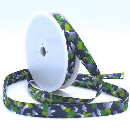 Biaisband met leger print - marineblauw