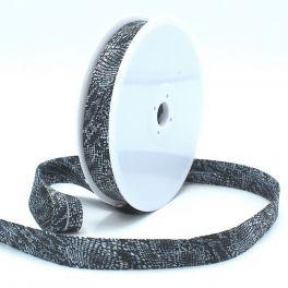 Biaisband met reptiel print - zwart