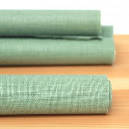 Coated linen - plain sea green