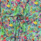 "Viscose printed with ""flowers"" - turquoise"