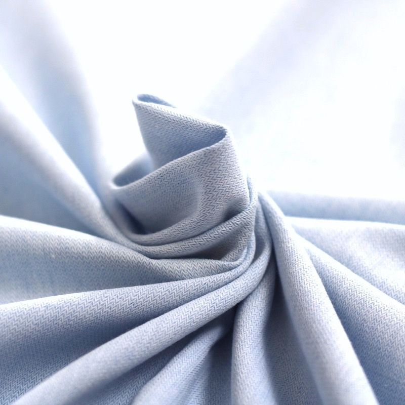 Chambray cotton with herringbone pattern - blue