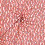 Tissu cretonne corail imprimé végétal