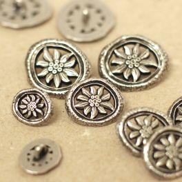 Bouton en métal argenté Edelweiss