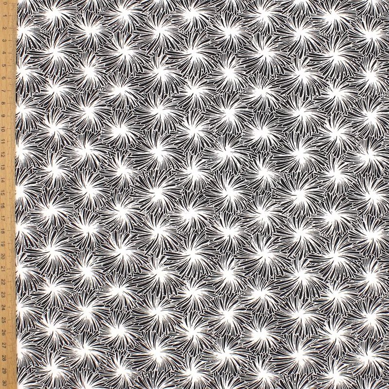 Cotton fabric with floral print - black