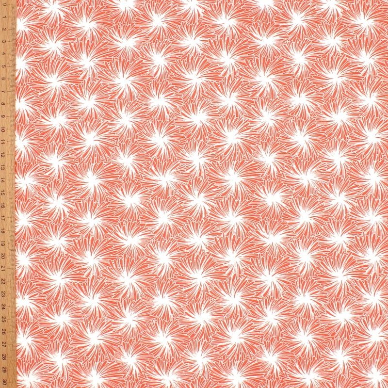Cotton fabric with floral print - coral