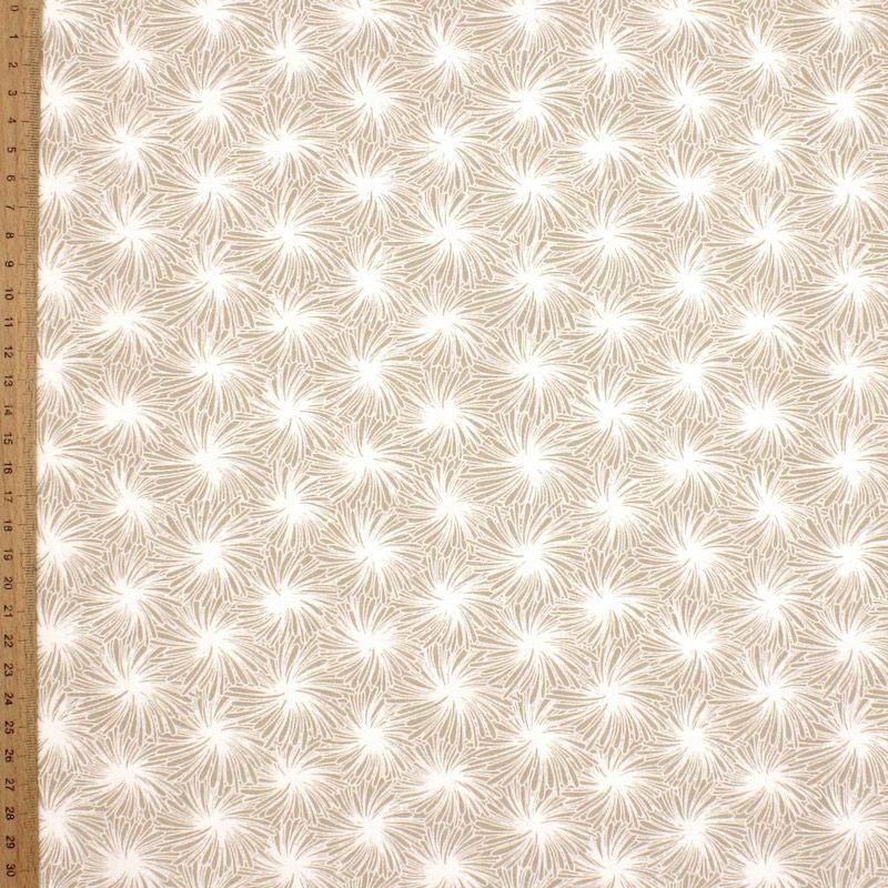 Cotton fabric with floral print - beige