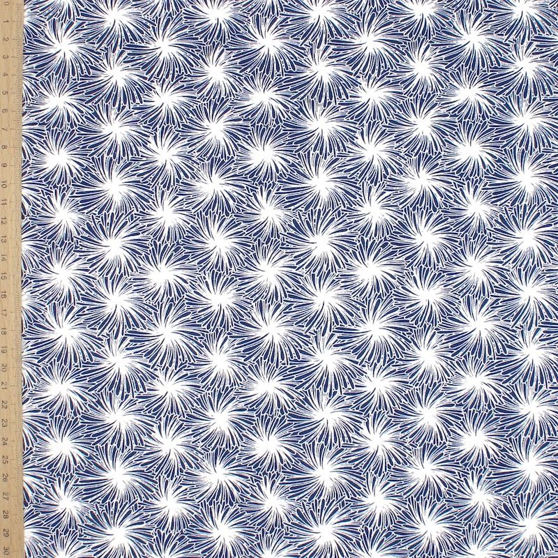 Cotton fabric with floral print - blue