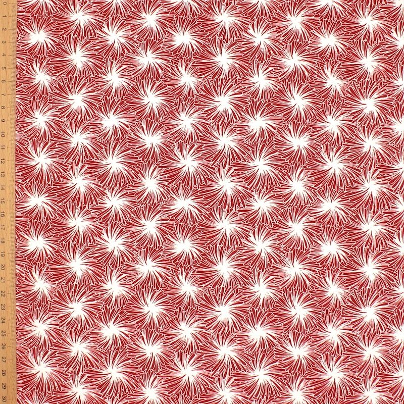 Cotton fabric with floral print - burgondy
