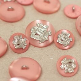 Button - satinised pink with silver rose