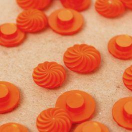 Bouton rond fantaisie en résine orange