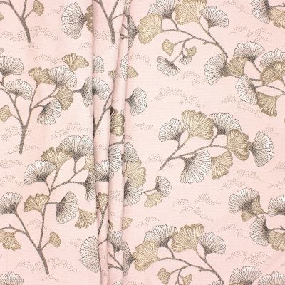 Jacquard fabric with satinised Ginko leaves