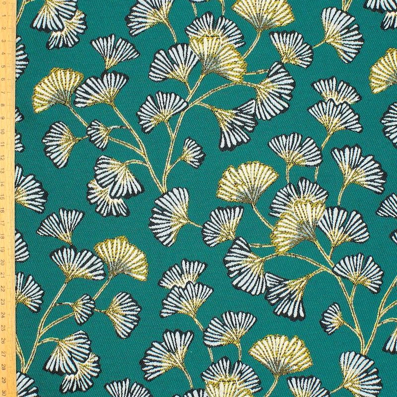 Satinised Jacquard fabric with Ginko leaves