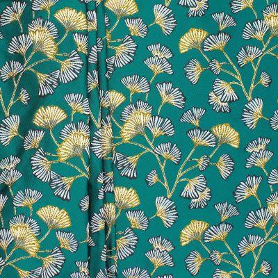 Tissu jacquard satiné feuilles Ginko