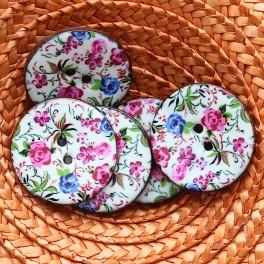 Bouton en coco à fleur rose 3,5 cm