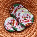 Bouton en coco à fleur rose, rouge, jaune et vert 3,5 cm