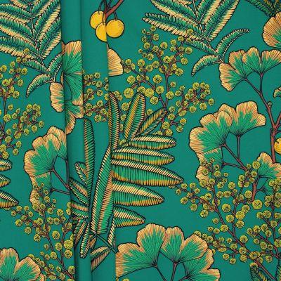 Tissu imprimé mimosa sur fond vert