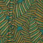 Tissu vert bleu imprimé fougère