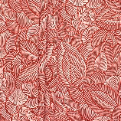 Fabric with foliage print - rust background