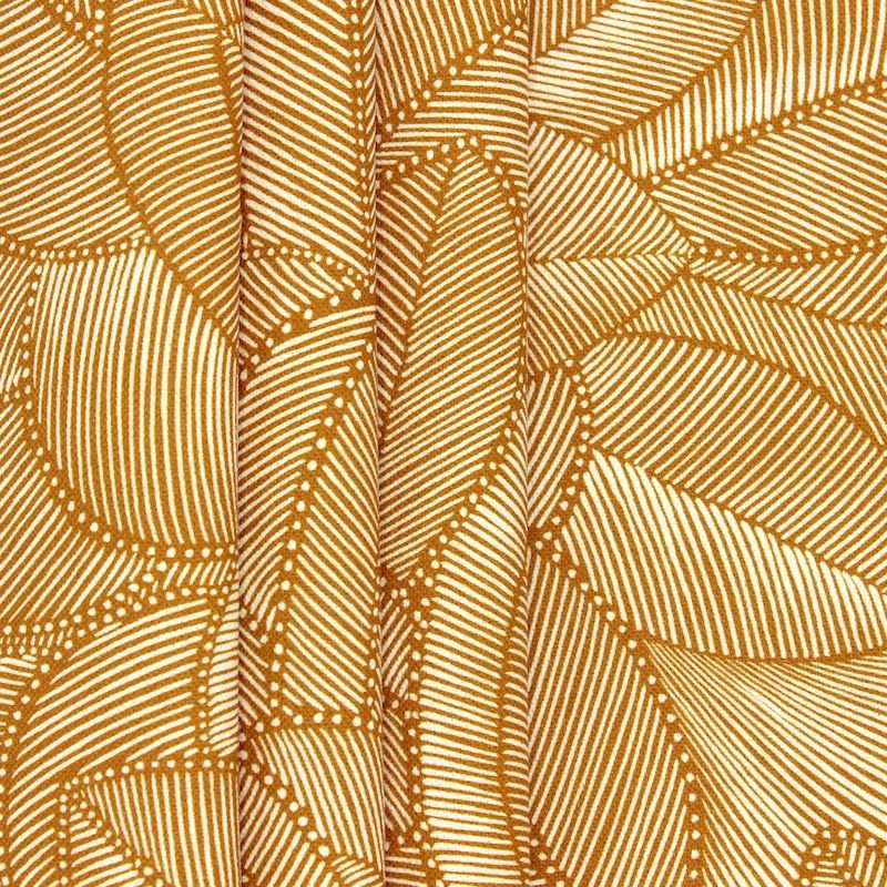 Fabric with foliage print - cumin-colored background