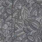 Tissu imprimé végétal sur fond noir
