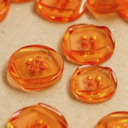 Round transparent resin button - orange