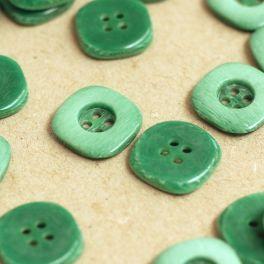Bouton carré en résine vert