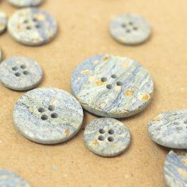 Bouton rond en résine gris bleu marbré