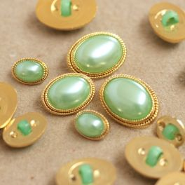 Oval vintage button - gold and sea green