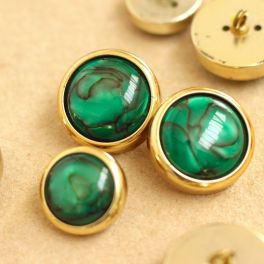 Round vintage button - gold and green