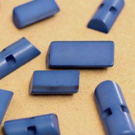Bouton rectangulaire en résine bleu