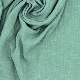 Double cotton gauze with linen effect - sage green