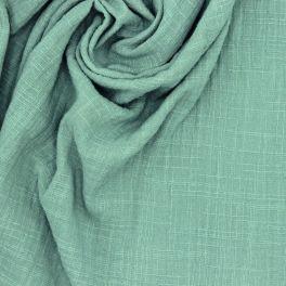 Tissu double gaze effet lin vert sauge