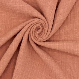 Double cotton gauze with linen effect - rosewood