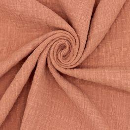 Tissu double gaze effet lin rouille