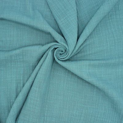 Tissu double gaze effet lin vert canard