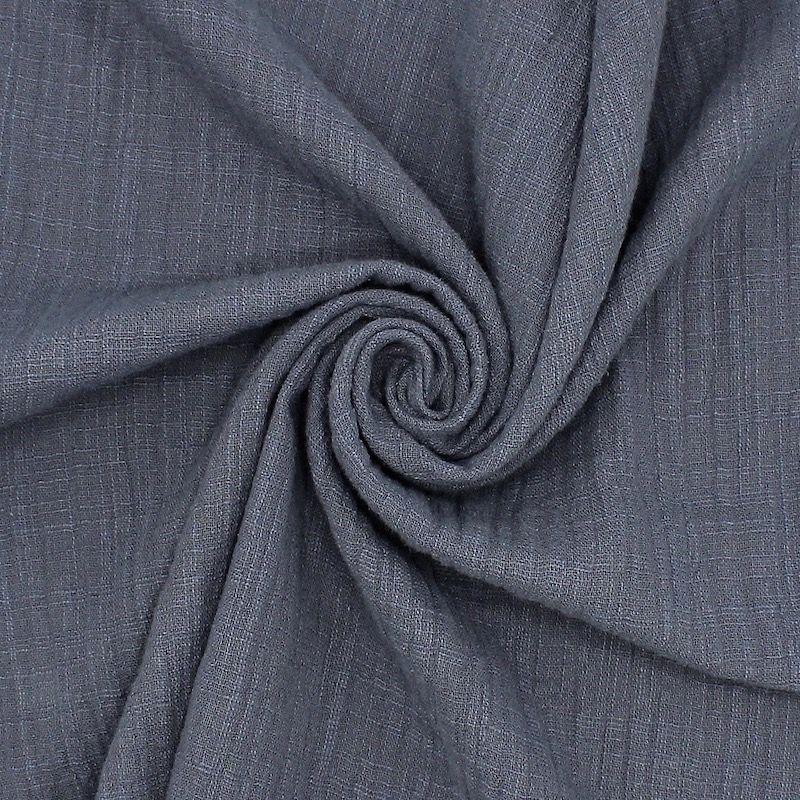 Tissu double gaze effet lin bleu