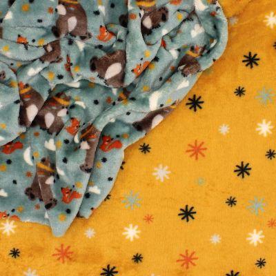 Minky velvet bears - blue/mustard yellow