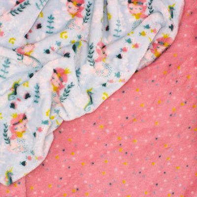 Minky velvet mermaid - sky blue/pink