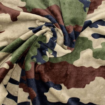 Minky velvet military - brown/green