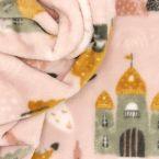 Minky fluweel draak en kasteel - roos/geel