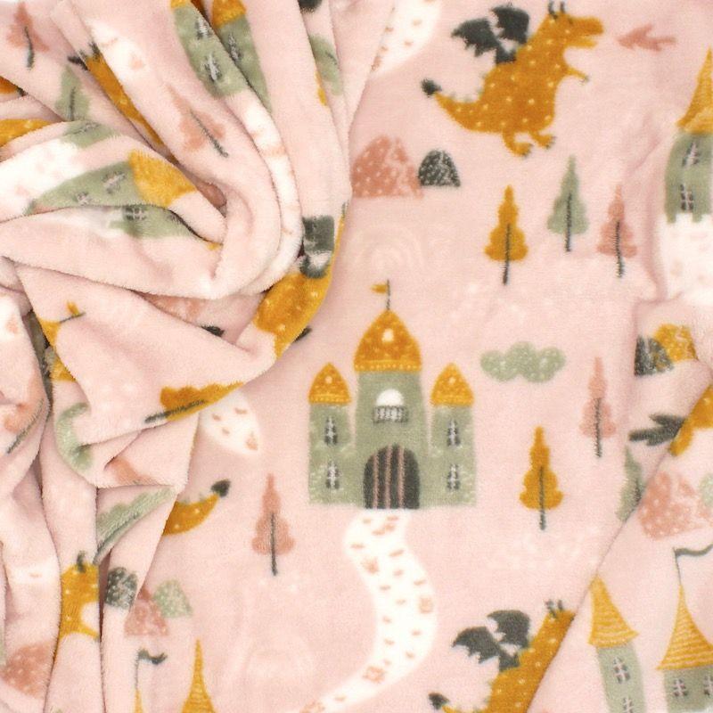 Minky velvet dragon and castle - pink/yellow