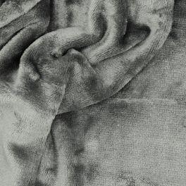 Minky fluweel - effen grijs